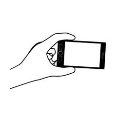 Hand holding smartphone design vector image