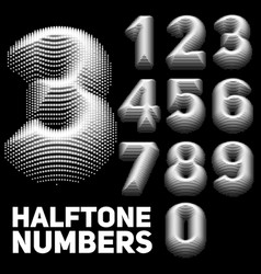 set of halftone embossed numbers vector image