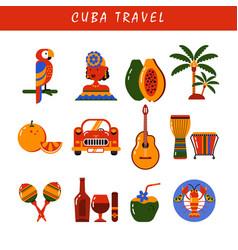 Cuba havana icons set vector