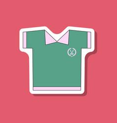 Paper sticker on stylish background golf shirt vector