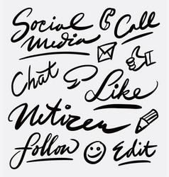 Social media and netizen hand written typography vector