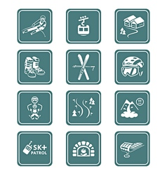 Skiing resort icons - teal series vector