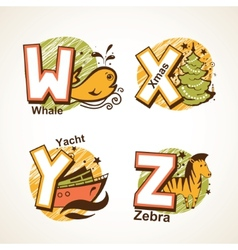 Alphabet set from w to z vector