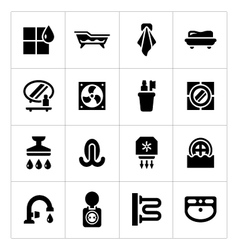Set icons of bathroom vector image
