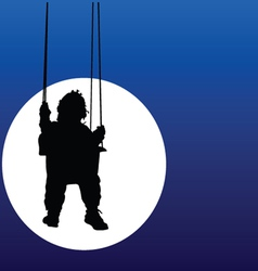Baby swings on a swing in the moonlight vector