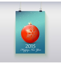 Poster with a Christmas ball on it vector image