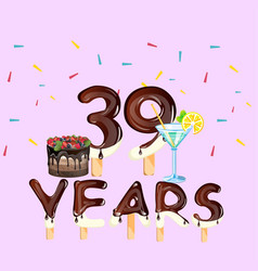 39 years greeting card happy birthday vector image vector image