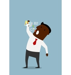 Businessman taking vitamins from a bottle vector