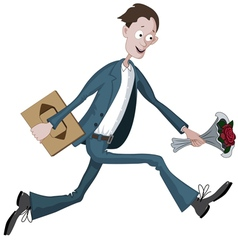 Cartoon man running hurriedly to date vector