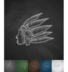 Injun icon hand drawn vector