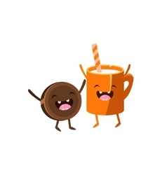 Milk and cookie cartoon friends vector