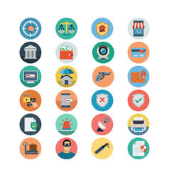 Security Flat Colored Icons 2 vector image