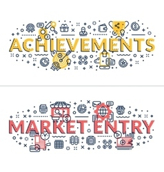 Achievements and market entry headings titles vector