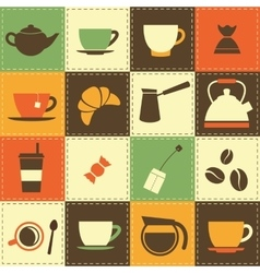Background with coffe and tea cup icons vector