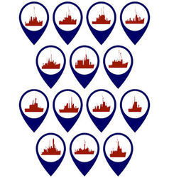 Badges with frigates and corvettes vector
