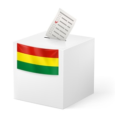 Ballot box with voting paper bolivia vector
