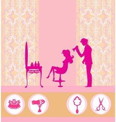 beautiful woman silhouette in barber shop vector image vector image