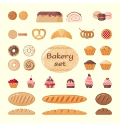 Big bakery set vector image vector image