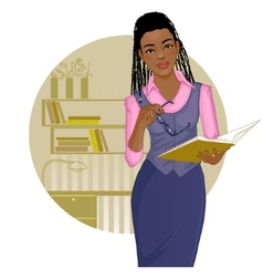 Business woman with journal near desk vector image vector image