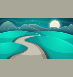 Cartoon night landscape moon and cloud vector