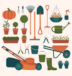 collection of tools for gardening vector image vector image