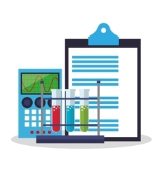 Colorful checklist calculator and laboratory vector image