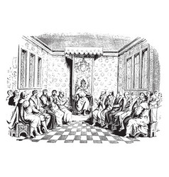Edward vi and his council from a wood-cut vintage vector
