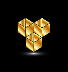 Golden boxes- logo for architect or construction vector