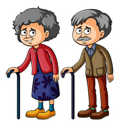 Grandmother and grandfather with walkingstick vector