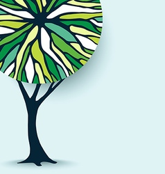 Green concept tree design with abstract shapes vector image vector image