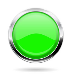 green round button web icon with chrome frame vector image vector image