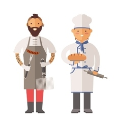 Grill chef and baker two men of character vector image