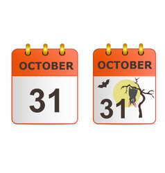 halloween on icons of calendar vector image vector image