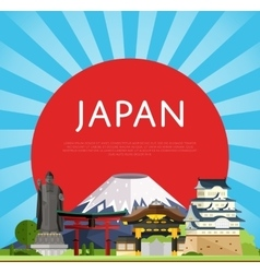Japan travel concept with famous asian buildings vector