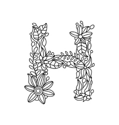 Letter H coloring book for adults vector image vector image