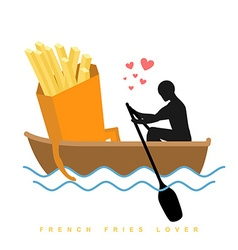 Lover french fries man and fastfood and ride in vector