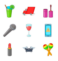 preparing for the concert icons set cartoon style vector image vector image