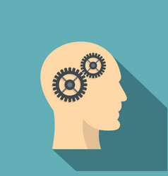 profile of the head with gears inside icon vector image vector image
