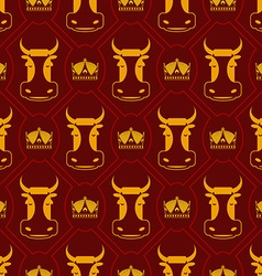 Royal beef seamless pattern cow and crown regal vector