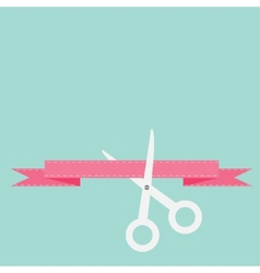 Scissors cut decorative pink ribbon with dash line vector