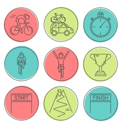 Set of 9 bicycle race modern linear icons vector