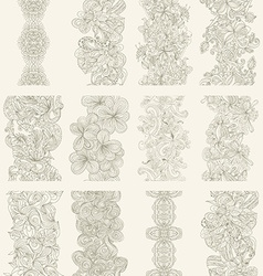 set of abstract hand-drawn seamless border vector image