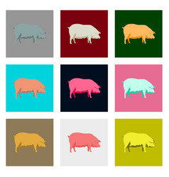 set of in flat style pig vector image vector image
