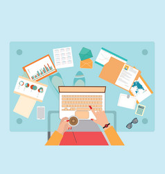 top view of busy business woman working hard on vector image vector image