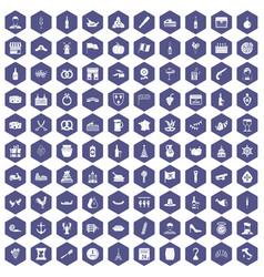 100 alcohol icons hexagon purple vector
