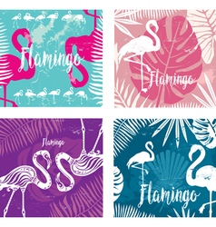 Summer posters set with flamingo vector image