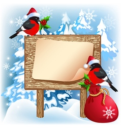 Christmas wooden signboard with bullfinches vector image