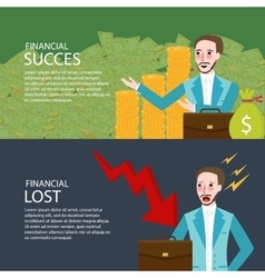 Financial success and lost investment money chart vector