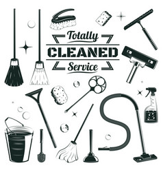 hand drawn cleaning elements set vector image