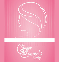Happy womens day greeting card pink background vector